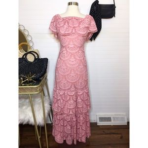 NEW Gianni Bini Lace Blush Ruffle Maxi Dress